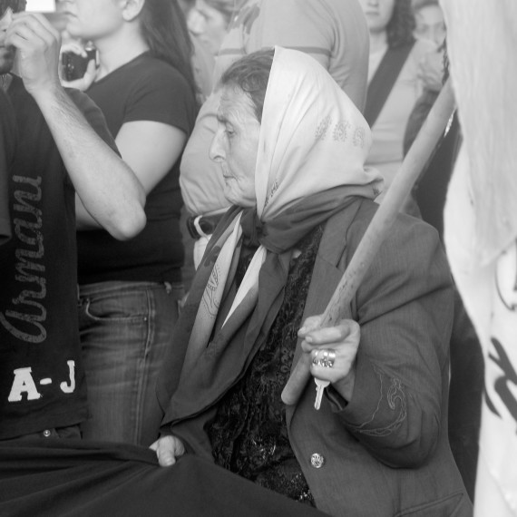An old woman at the Gaza Freedom Flotilla raid protest in Beirut, Lebanon in June, 2010.